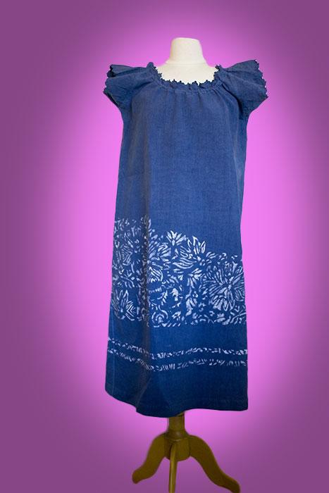 chemise indigo décoré au pochoir